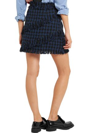 MSGM Fringed houndstooth tweed mini skirt