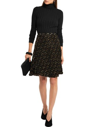 CO Flocked metallic silk-blend skirt