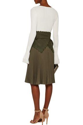 ANTONIO BERARDI Embroidered wool felt-paneled plissé wool-canvas skirt