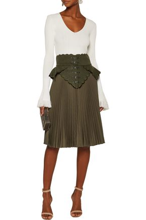ANTONIO BERARDI Embroidered wool felt-paneled plissé wool-canvas skirt