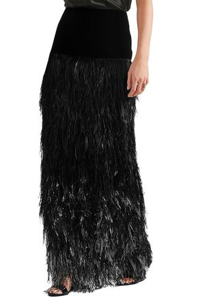 TOM FORD Velvet and tiered ombré feather maxi skirt
