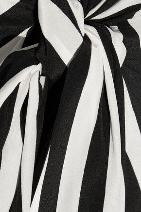 TOME Tie-front striped silk-georgette midi skirt