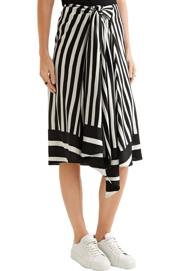 Tie-front striped silk-georgette midi skirt | TOME | Sale up to 70% off |  THE OUTNET