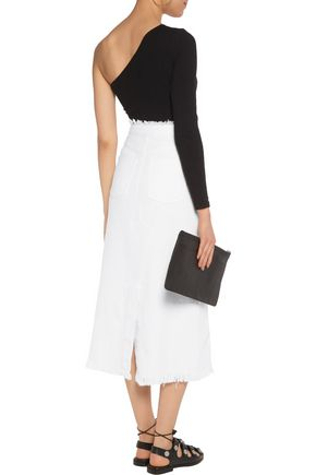 T by ALEXANDER WANG Frayed woven cotton midi skirt