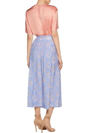 ROCHAS Pleated printed silk crepe de chine skirt