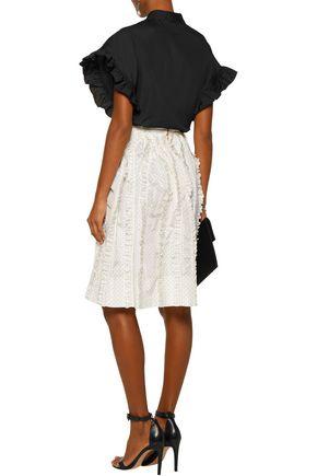 ROCHAS Ruffled polka-dot silk-twill skirt