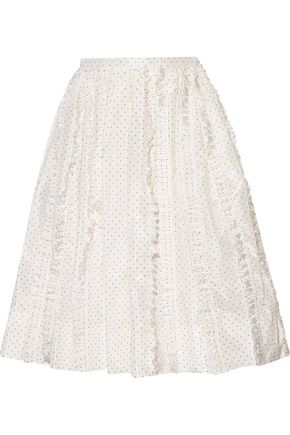 ROCHAS Ruffled polka-dot silk-twill skirt