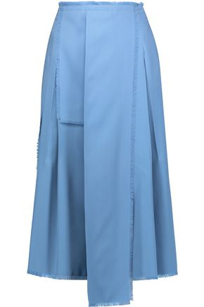 ROCHAS Fringed pleated wool midi skirt