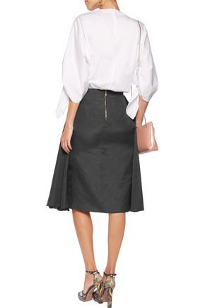 ROCHAS Pleated silk and cotton-blend skirt