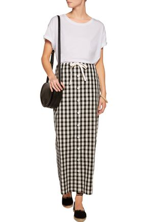 SOLID & STRIPED Gingham cotton and linen-blend maxi skirt