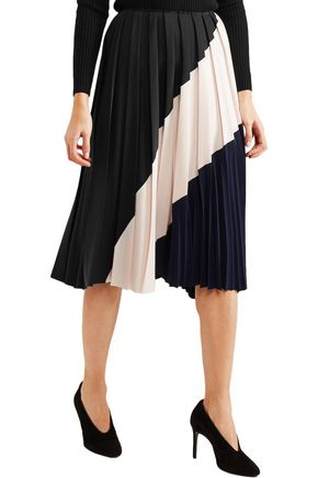 CEDRIC CHARLIER Color-block pleated crepe midi skirt