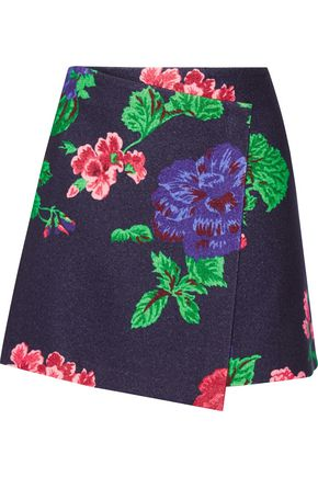 MSGM Floral-print wool-blend wrap mini skirt