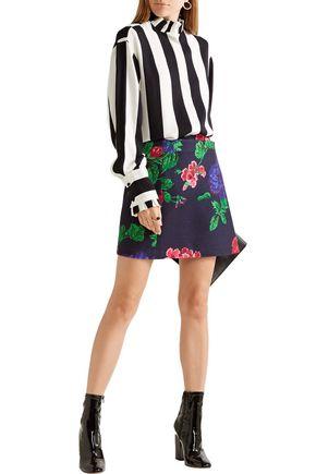 MSGM Floral-print wool-blend wrap mini skirt