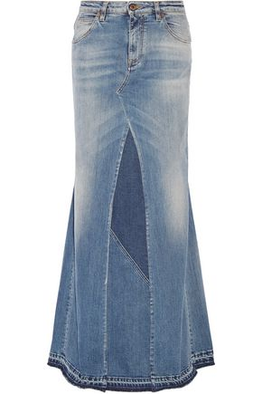 ROBERTO CAVALLI Paneled stretch-denim maxi skirt