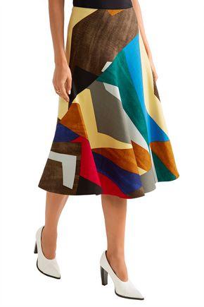 MARNI Flared printed stretch-wool skirt