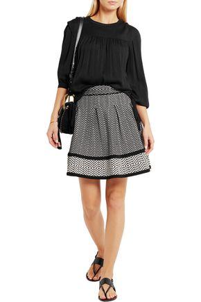 MAJE Flared stretch jacquard-knit mini skirt