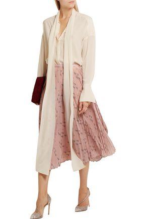 VALENTINO Pleated printed silk crepe de chine midi skirt