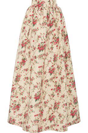MIU MIU Floral-print silk-faille maxi skirt