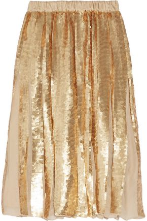 TIBI Éclair pleated sequined silk-georgette skirt