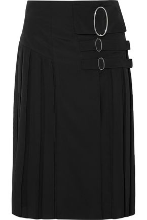 TOD'S Wrap-effect pleated crepe de chine skirt
