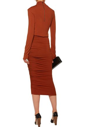 ALICE + OLIVIA Mindie ruched stretch-jersey skirt