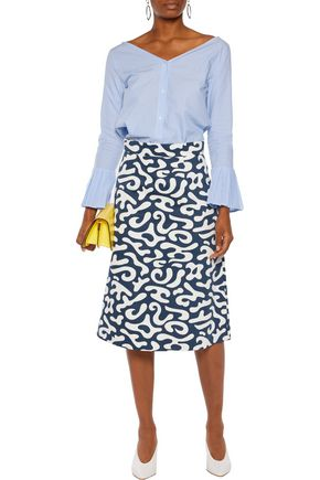 MARNI Printed cotton-blend twill skirt