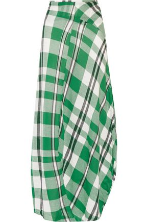 STELLA McCARTNEY Draped checked cotton maxi skirt
