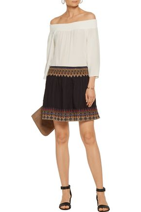 JOIE Lilith embroidered cotton-broadcloth mini skirt