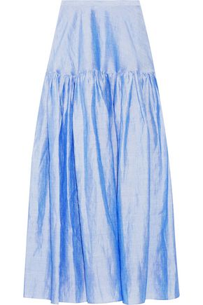 CO Gathered ramie-blend maxi skirt