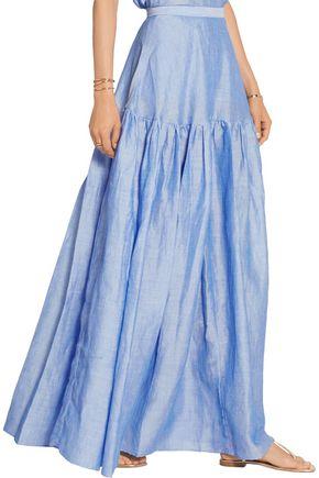 CO Gathered ramie-blend maxi skirt