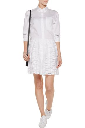 McQ Alexander McQueen Perforated cotton-poplin mini skirt