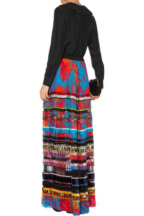 ROBERTO CAVALLI Paneled pleated printed silk maxi skirt