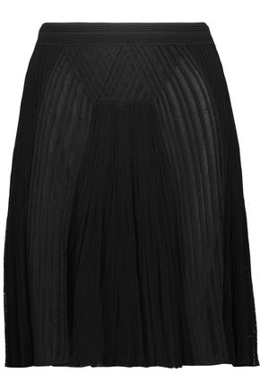 ROBERTO CAVALLI Pleated ribbed and open-knit mini skirt
