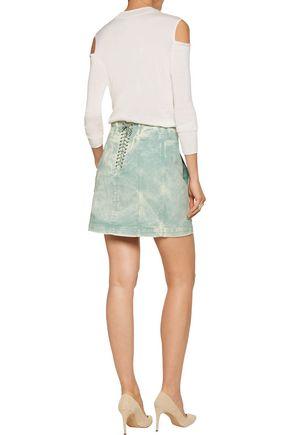 ROBERTO CAVALLI Lace-up denim mini skirt