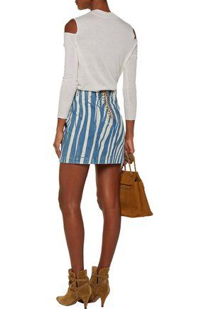 ROBERTO CAVALLI Lace-up printed denim mini skirt