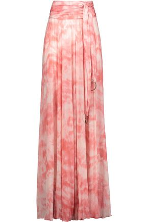 ROBERTO CAVALLI Pleated printed stretch-jersey maxi skirt