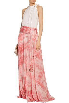 ROBERTO CAVALLI Pleated printed stretch-jersey maxi skirt