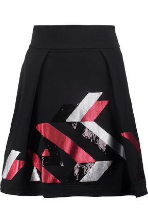 JUST CAVALLI Sequin-embellished stretch cotton-blend mini skirt