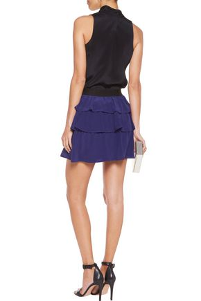 JUST CAVALLI Tiered washed-silk mini skirt