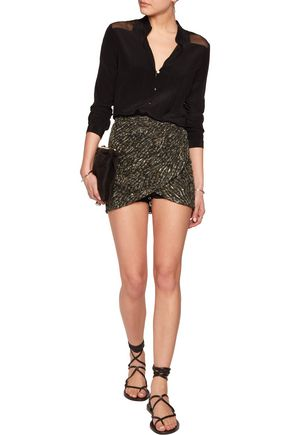 JUST CAVALLI Wrap-effect printed lace mini skirt