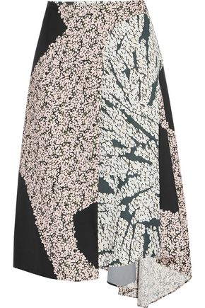 CEDRIC CHARLIER Wrap-effect printed satin-twill midi skirt