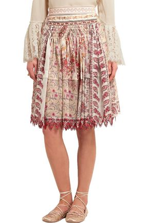 ETRO Embellished printed cotton and silk-blend skirt