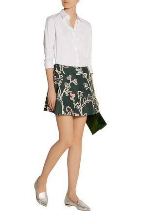 MARNI Floral-print cotton and silk-blend mini skirt