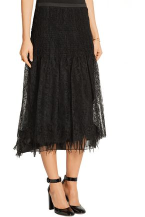 ROCHAS Paneled silk-lace and twill midi skirt