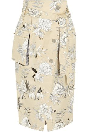 MAISON MARGIELA Floral-print cotton and linen-blend skirt