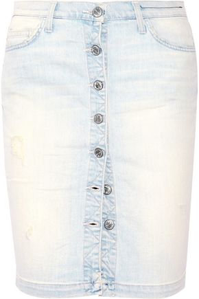 CURRENT/ELLIOTT The Dotty distressed stretch-denim skirt