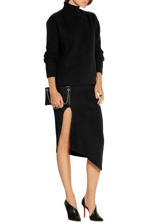 CUSHNIE ET OCHS Asymmetric ribbed stretch-knit skirt