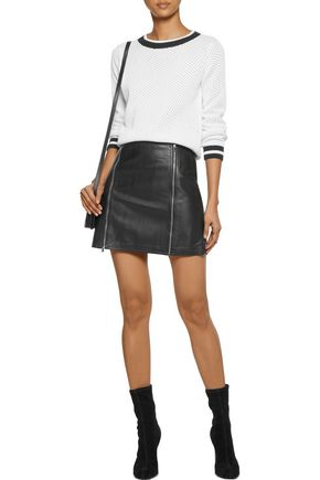 J BRAND Claret embellished leather mini skirt