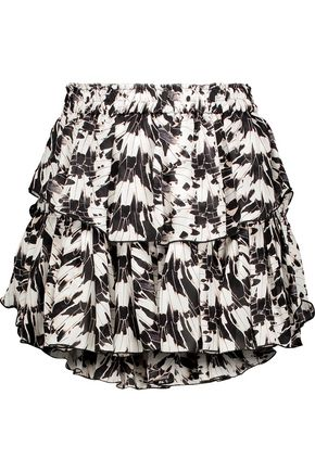 LOVESHACKFANCY Ruffled printed silk-crepe mini skirt