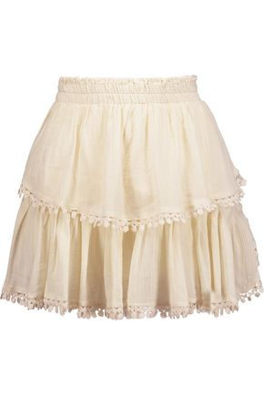 LOVESHACKFANCY Embroidered pleated cotton-gauze mini skirt